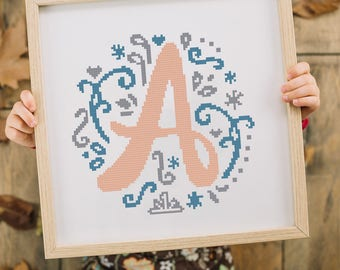 Letter A Cross stitch pattern, Embroidery modern, Baby gift, Instant download #54