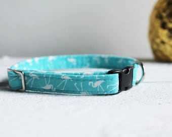 Cat and Small Dog Collar - Flamingo turquoise, sea blue  - safety breakaway clip for cats, option for toy dogs. Puppy and kitten sizes.