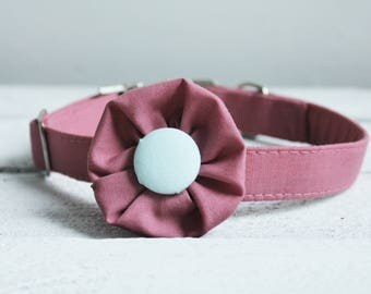 Dog Collar Flower and Pink Collar, metal fittings. Ideal as a dog wedding collar, or everyday. Detachable dog collar flower for girl dogs