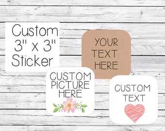 "Custom Labels 50  3"" x 3"" (INCHES) Completely Customizable Stickers , Labels Candle Label , jewelry label,product labels , product stickers"