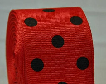 "1.5"" Black on Red Polka Dot Collar with Side Release Buckle (D-Ring Martingale Option Available)"