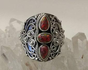 Fire Opal Ring Size 7 1/2