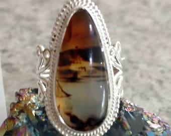 Montana Agate Druzy  Ring, Size 7