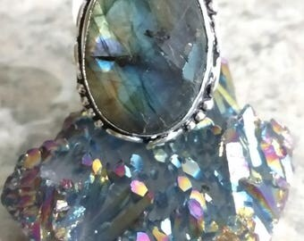 Beautiful Faceted Labradorite Ring, Size 8 3/4
