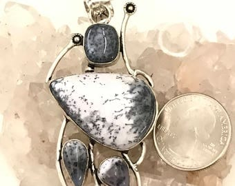 Huge Dendritic Opal Pendant Necklace