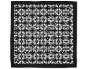 Rhialize Logo Bandanas / Head Accessories / Black Bandana / Abstract Clothing / Psychedelic Clothing / Geometric Clothing / Rave Clothing