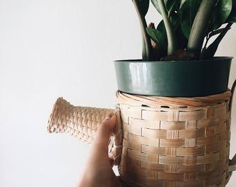 Vintage Woven Basket Planter / Vintage Wicker Basket / Boho Planter / Vintage watering can