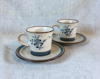 Vintage Noritake Pleasure Coffee Cups and Saucers, Set of 2