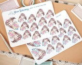 New Edition! Kawaii Girl Planner Lover Decorative Stickers ~Violet~ For your Life Planner, Diary, Journal, Scrapbook...