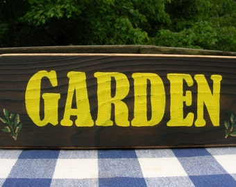 Garden Wood Sign - Yellow, Floral, Handpainted, Woodburned - Wooden Wall Sign, Porch, Wall Hanging, Shelf Decoration
