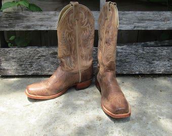 Nocona brisby tan leather cowboy boots mens 8