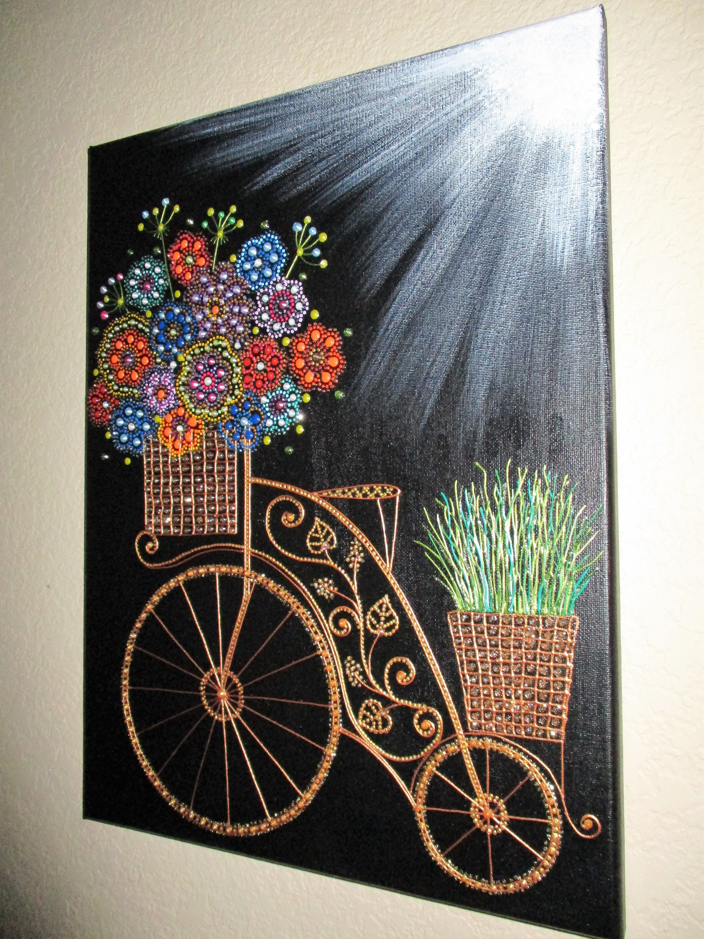 Bicycle Amp Flower Art Canvas Art Wall Decor Acrylic Painting