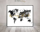 Black and white World map, map art print, large world map poster, travel gift, not all who wander are lost, faux gold text, ArtPrintsVicky
