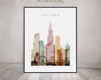 Chicago Print Watercolor Skyline Poster | ArtPrintsVicky.com