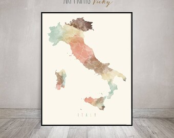 Italy map, watercolor print, Italy map poster, Wall art, Italy map print pastel, Travel decor, Gift, Office decor, Home Decor ArtPrintsVicky