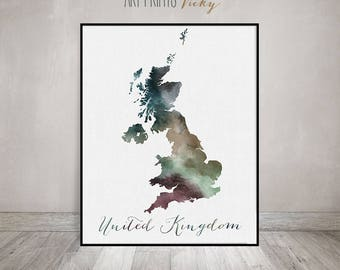 Great Britain watercolor map, Great Britain Wall art, UK map poster, United Kingdom watercolor print, England map poster,  ArtPrintsVicky