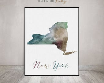 New York state map, watercolor map, Wall art, New York map poster, New York state, typography art digital watercolor print, ArtPrintsVicky.