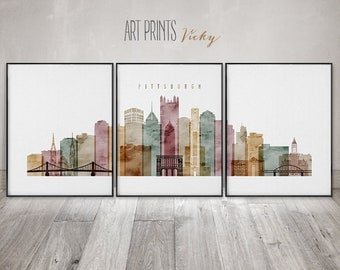Pittsburgh 3 set of prints, Pittsburgh 3 set of wall art poster, large wall art, 3 pieces of Pittsburgh print, Travel poster, ArtPrintsVicky