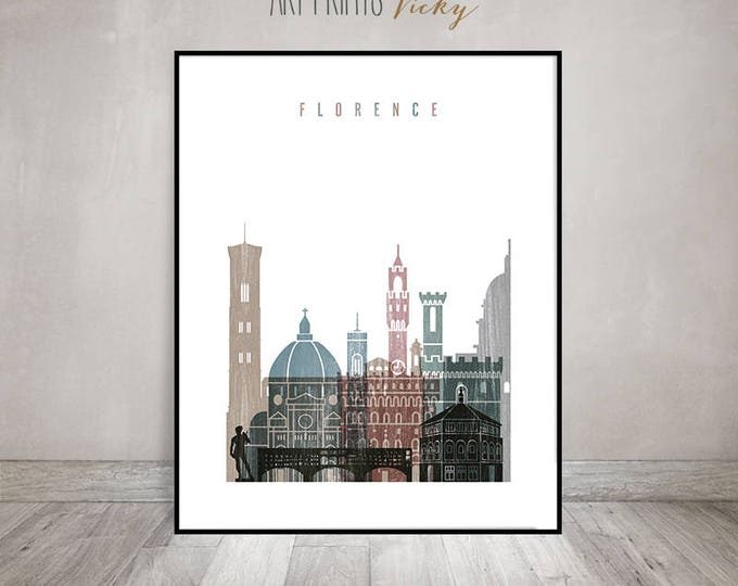 Wall art Florence, Florence skyline art, travel poster, housewarming gift, travel gift, distressed art, Wall decor, ArtPrintsVicky