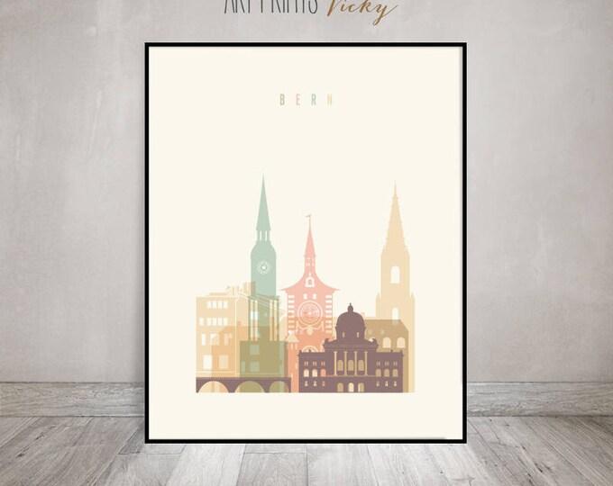Bern wall art print, Bern skyline poster, Travel decor, Wall decor, Travel gift, ArtPrintsVicky