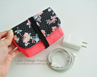 Night Blossom Charger & Cable Storage, Cellphone Charger Holder, USB Cable Case, Traveller Gadget Organizer, Cable Holder - Made to Order