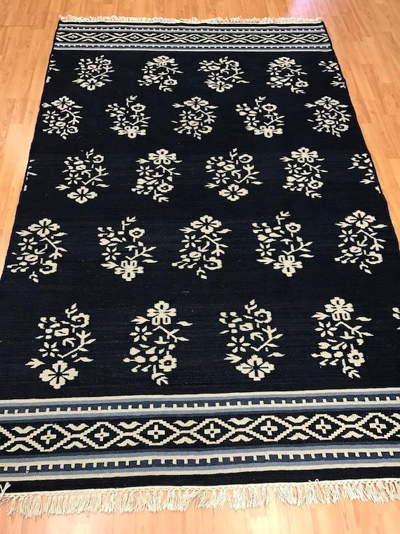 5' x 8' Indian Kilim Oriental Rug - Dark Blue - Hand Made - 100% Wool