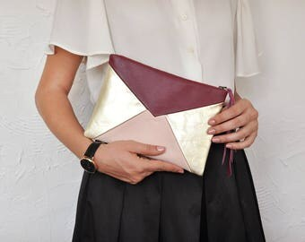 Leather Clutch, Leather Handbag, Envelope, Handbag, Evening Bag, Clutch