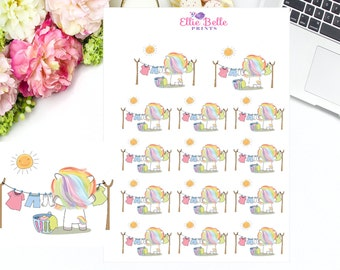 LAUNDRY DAY UNICORN, Rainbow Unicorn Collection, Laundry Day Sticker, Washing, Wash Day, Stickers, Rainbow Unicorn Sticker, Planner Sticker