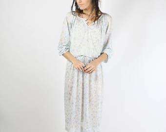 Pale blue 70s poly floral dress, Floaty summer vintage dress, Medium 3752