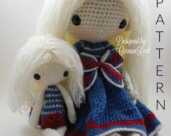 "July 17"" and her little doll 8""- Amigurumi Doll Crochet Pattern PDF"