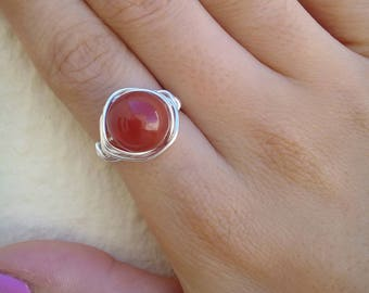 Valentine Gift, Carnelian Ring, Gemstone Ring, Wire Wrapped Ring, Tarnish Resistant Ring, Gift for Her