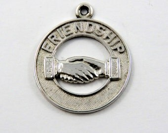 Friendship With a Handshake Silver Charm of Pendant.