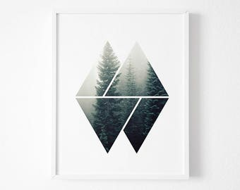Geometric Print Art, Nature Print, Green Art,Forest Art,  Abstract Print, Geometric Print, Geometric Artwork, Geometric Wall Print