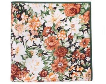 Floral Pocket Square | Flower | Handkerchief | Wedding | event | Gifts | Ideas | For him | Orange | Green | Groom