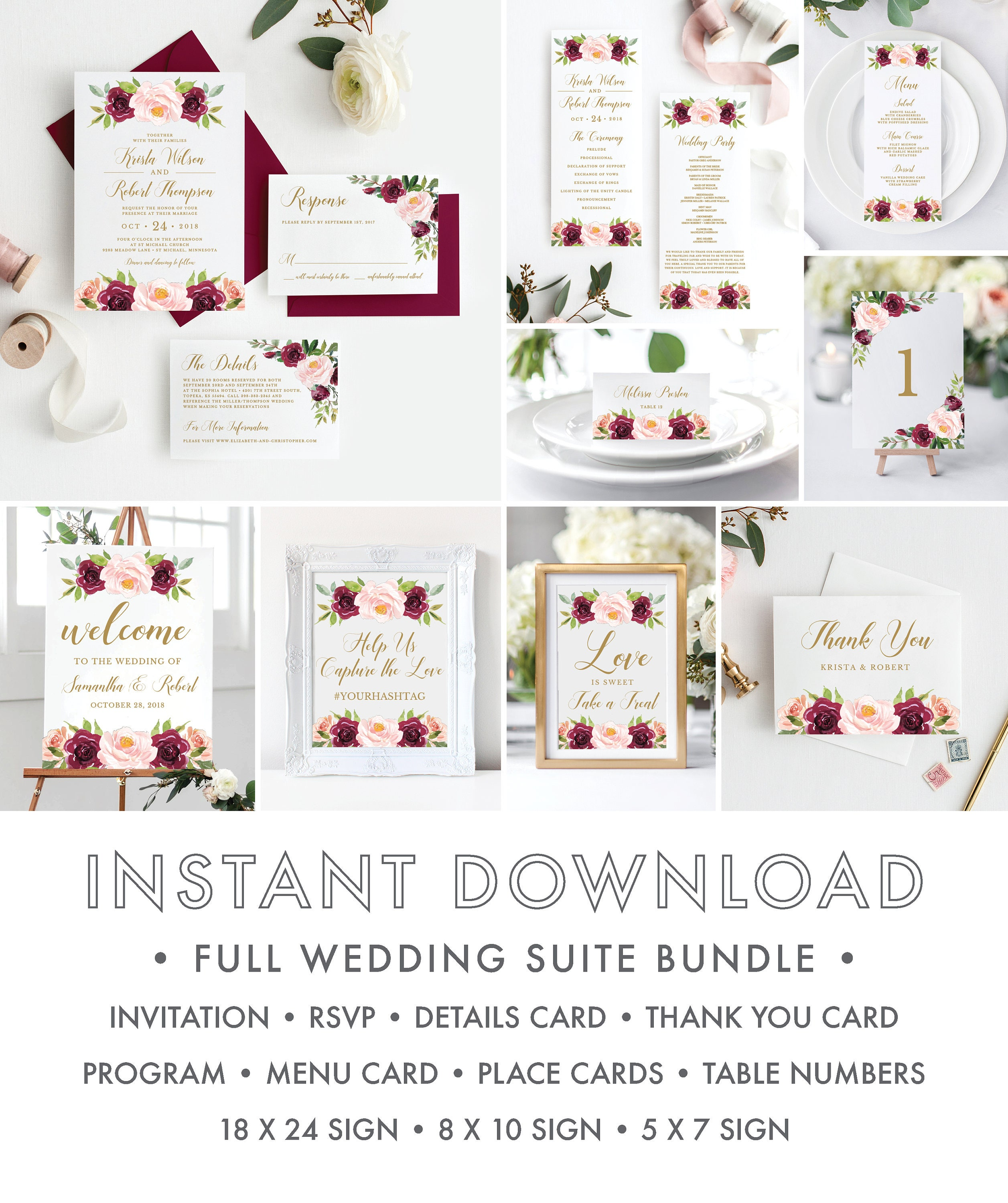 Full Wedding Suite Bundle, Burgundy Rustic Floral Wedding ...