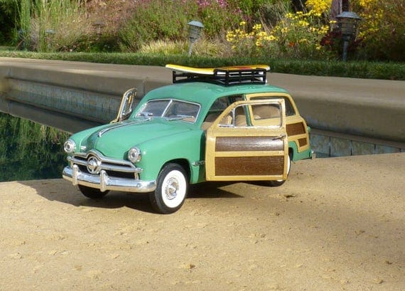 DIE CAST WOODY Station Wagon ~ 1949 Model Car ~ Ford Woody Station Wagon ~ Classic Car ~ Man Cave ~ She Shed ~ Surfer Boy or Surfer Girl
