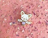 Tiny White Bat Hard Enamel Pin - Standard (A) Grade