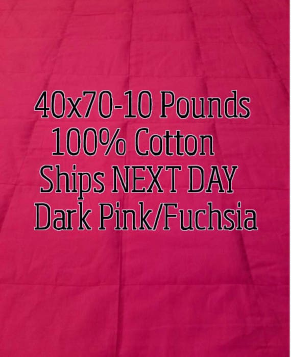 Weighted Blanket, 10 Pound, Dark Pink, 40x70, READY TO SHIP, Twin Size, Adult Weighted Blanket, Next Business Day To Ship