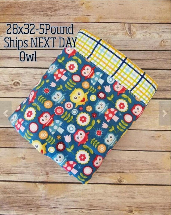 Owl, 5 pound, WEIGHTED BLANKET, Ready To Ship, 5 pounds, 28x32, for Autism, Sensory, ADHD, Calming, Anxiety,
