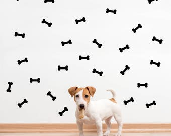Dog Bone Wall Decal for Doggy Space Decoration - Pet Dog House Home Wall Decor Idea, Dog Art, Includes 28 Bone Stickers