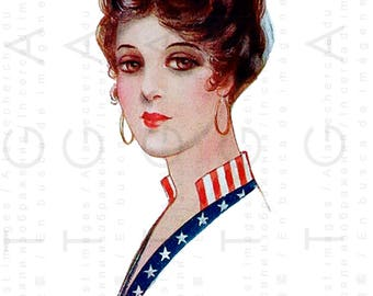 PATRIOTIC GREETING From The Sunny SOUTH ! 4th of July Vintage Postcard. Four Of July Digital Download.