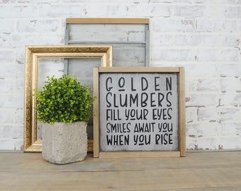 Golden Slumbers Framed Wall Hanging, Rustic Home Decor, Nursery Decor, Boys Room Signs, Farmhouse Decor, Boho Decor, Baby Shower Gift