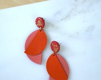 Wife statement jewelry, geometric leather earrings, modern earrings, pink earrings, polymer clay jewelry, gift for women, gift for wife