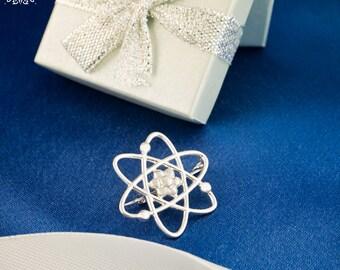 Atom Brooch - Atom Molecule-Science Gift-Science Brooch-MolecularBrooch-Molecular Gift-Molecular Science-Nerd Gift