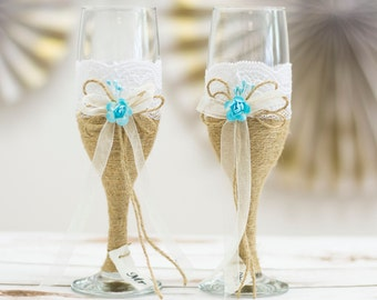 Wedding Glasses Toasting Flutes Champagne Glasses Burlap and Lace Glasses Rustic Blue Wedding Champagne  Wedding reception Glasses
