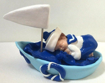 Miniature baby sailor, boat, fimo, made hand/customizable/cake topper/table/baptism/baby shower decoration/birth gift decoration