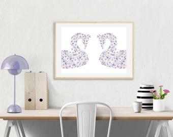 Swans Floral Nursery Print, Swan Nursery Decor, Watercolor, Children's wall art Pastel Flowers Nursery art, princess, swan poster lilac girl