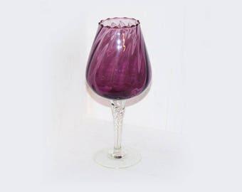 Amethyst Glass Pedestal Vase Stunning - 923