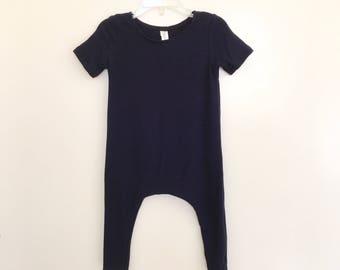 Navy Lightweight Rib Knit Harem Romper- Short Sleeve, baby onesie, solid romper