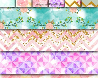 Pink Flower Digital Paper Pack: Scrapbook Paper | Instant Download, scrapbooking, digital background, pink flowers | 12x12, diy, wedding